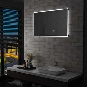 vidaXL LED-es tükör érintésérzékelővel és időkijelzővel 100 x 60 cm