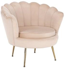 Fotel Art-deco stílusban, bézs Velvet anyag/gold chróm-arany, NOBLIN