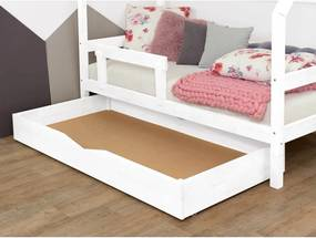 Buddyn fehér fa ágy alatti rácsos fiók teljes alappal, 90 x 140 cm - Benlemi