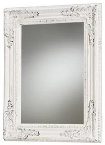 Vintage antikolt fehér fali tükör díszes fa keretben