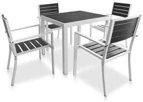 vidaXL 5-részes fekete kültéri alumínium étkezőszett WPC asztallappal