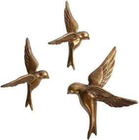3 db sárgaréz dekorációs madár - BePureHome