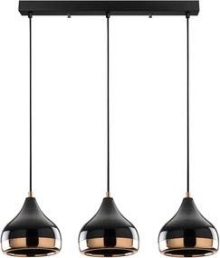 Yildo Long fekete-rézszínű függőlámpa 3 izzóval - Opviq lights