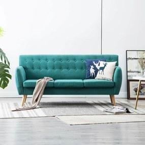 vidaXL 3 személyes zöld kárpitos kanapé 172 x 70 x 82 cm