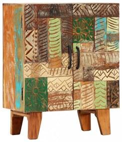 Tömör újrahasznosított faragott fa tálalószekrény 60x30x75 cm