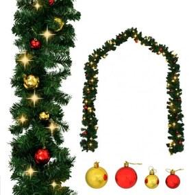Karácsonyi füzér díszekkel és LED-fényekkel 10 m