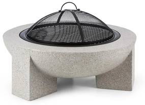Troja, cserép tűzhely, 75 cm-es átmérő, grill rostély, acél, égetett magnézium