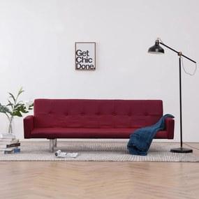 Bordó poliészter kárpitozású karfás kanapéágy