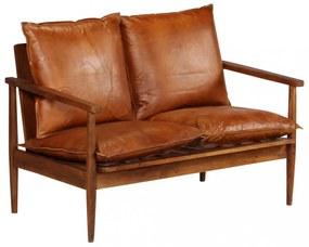 Barna valódi bőr és akácfa kétszemélyes kanapé