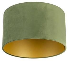 Velúr lámpaernyő zöld 35/35/20 arany belsővel