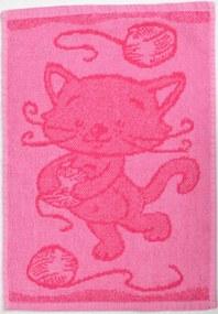 Gyerek törülköző BEBÉ cica rózsaszín 30x50 cm