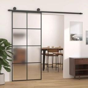 Fekete alumínium és esg üveg tolóajtó 83 x 205 cm