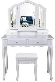 Fésülködő asztal, sminkasztal 3 tükrös, szekrénnyel, fehér