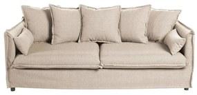 3 személyes szövet kanapé, párnákkal, krémszínű - GOBI
