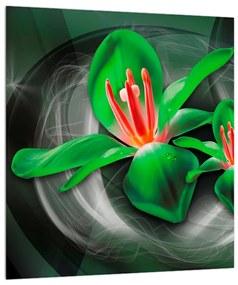 Modern kép - zöld virágok (30x30 cm)