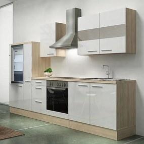 Hagen300 konyhabútor sütő- és hűtő beépítő szekrénnyel, kamraszekrénnyel Sonoma - Fehér