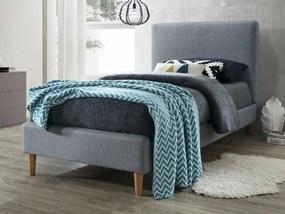 Kárpitozott ágy ACOMA 90 x 200 cm szürke/tölgy