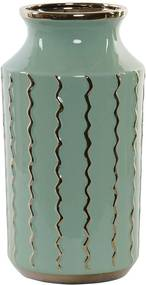 Porcelán váza zöld arany hullámokkal