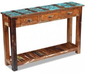 Tömör újrahasznosított fa konzolasztal 120x30x76 cm