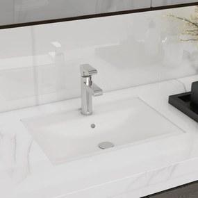 vidaXL Négyszögletes kerámia fürdőszoba mosdókagyló csaptelep és túlfolyó fehér