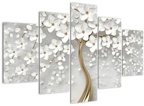 Fehér fa virágokkal képe (150x105 cm)