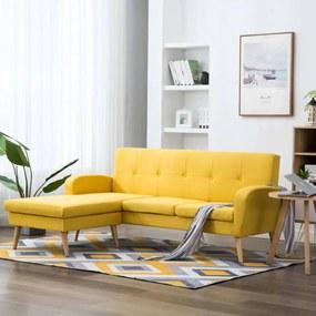 L-alakú sárga szövetkanapé 186 x 136 x 79 cm