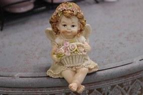 Krémszínű ülő angyalszobor kosárral 8cm