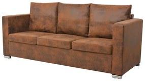 vidaXL 3-személyes, műbőr kanapé 191 x 73 x 82 cm