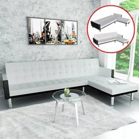 Fehér, l-alakú, műbőr kanapéágy