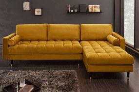 COZY VELVET design bársony kanapé - sárga