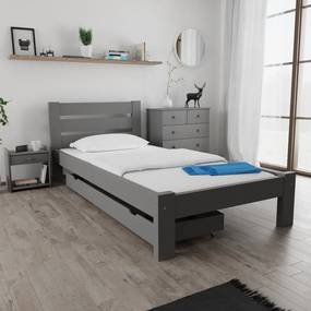 Maxi Drew Amelia ágy 80x200 cm, szürke Ágyrács: Lamellás ágyráccsal, Matrac: Matrac nélkül