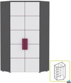 Sarokszekrény kombinált, szürke / fehér / lila, LOBETE 89