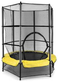 Rocketkid 3, sárga, 140 cm trambulin, biztonsági háló, bungee rugók