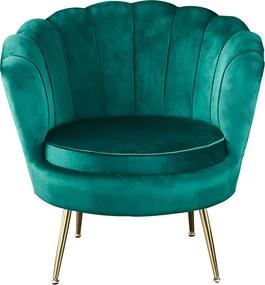 Fotel Art-deco stílusban, smaragd Velvet anyag/gold króm-arany, NOBLIN