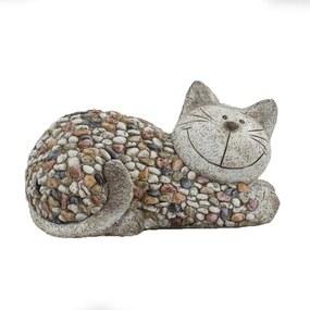 Kerti dekoráció Macska kavicsokkal, 32 x 18 x 18 cm