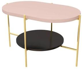RING dohányzóasztal, 80x76x40, rózsaszín/arany