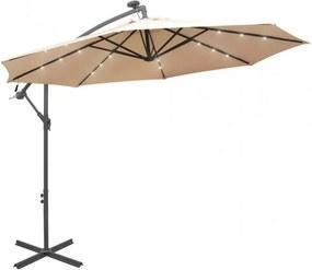 Függő, homokszínű ernyő LED-del, fém rúddal 300 cm