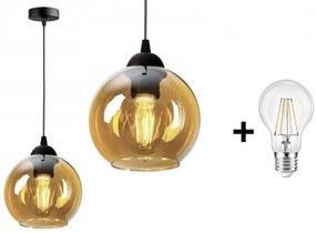 Glimex Orb állítható függőlámpa méz 1x E27 + ajándék LED izzó