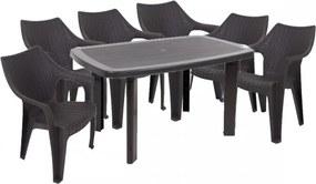 Santorini II New 6 személyes kerti bútor szett, antracit-barna asztallal, 6 db Tavira rattan székkel