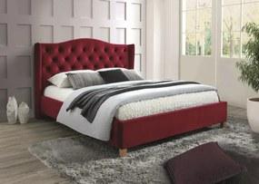 ASPEN VELVET kárpitozott ágy, 160 x 200 cm, vörös Matrac: matrac nélkül