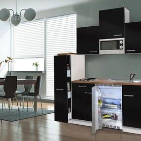 Hagen 180 cm-es konyhabútor egyrészes kamraszekrénnyel Fehér - Fekete