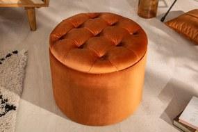 MODERN BAROCK modern bársony puff/tároló - 50cm - narancs