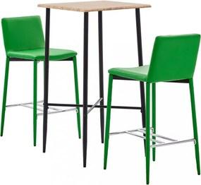 3-részes zöld műbőr bárszett