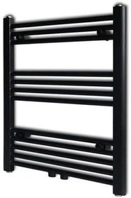 vidaXL Fekete fürdőszobai törölközőszárító radiátor központi fűtéssel egyenes 600 x 764 mm