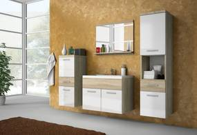 LABA fürdőszoba összeállítás mosdóval, sonoma/magasfényű fehér
