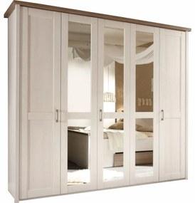 5-ajtós szekrény, DTD fóliázott, sonoma tölgy trüffel/mandulafenyő fehér, LUMERA