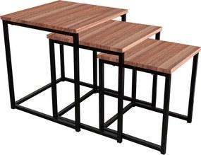 Három kisasztalból álló szett, dió/ fekete, KASTLER TYP 3