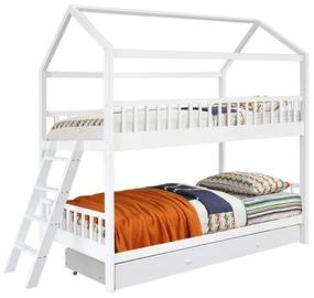 Emeletes házikós ágykeret, tárolórésszel, 90x200 cm, fehér - VILLA