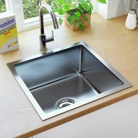 vidaXL kézzel készült rozsdamentes acél mosogató szűrővel