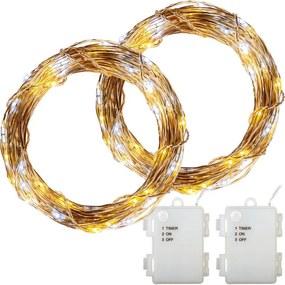 LED lánc VOLTRONIC® 2x 100 LED Fehér mix
